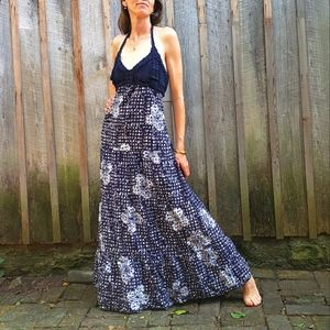 Lucky Brand Halter Top Maxi Dress - John Robshaw